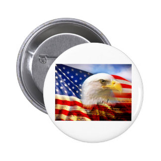 American Flag Bald Eagle 2 Inch Round Button