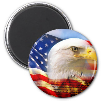 American Flag Bald Eagle 2 Inch Round Magnet