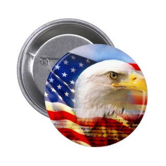 American Flag Bald Eagle Pinback Button