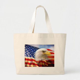 American Flag Bald Eagle Large Tote Bag
