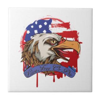 American Flag Bald Eagle Live Free Or Die Ceramic Tile