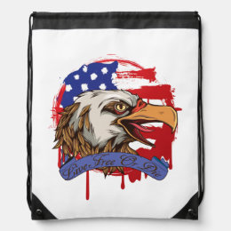 American Flag Bald Eagle Live Free Or Die Drawstring Bag