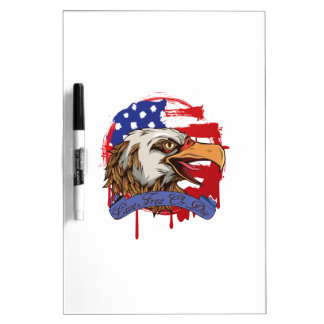 American Flag Bald Eagle Live Free Or Die Dry-Erase Whiteboard