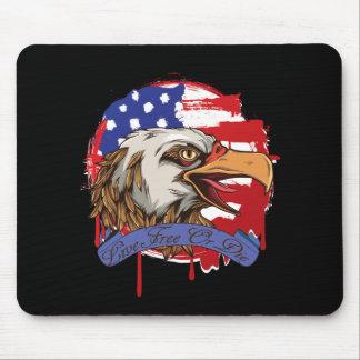 American Flag Bald Eagle Live Free Or Die Mouse Pad