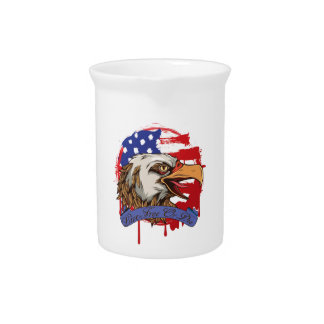 American Flag Bald Eagle Live Free Or Die Pitcher