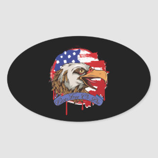 American Flag Bald Eagle Live Free Or Die Oval Sticker