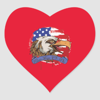 American Flag Bald Eagle Live Free Or Die Heart Sticker