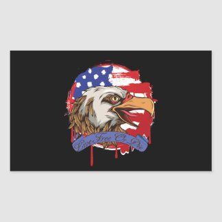American Flag Bald Eagle Live Free Or Die Rectangular Sticker