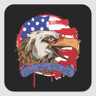 American Flag Bald Eagle Live Free Or Die Square Sticker