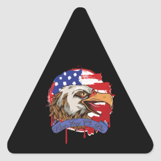 American Flag Bald Eagle Live Free Or Die Triangle Sticker