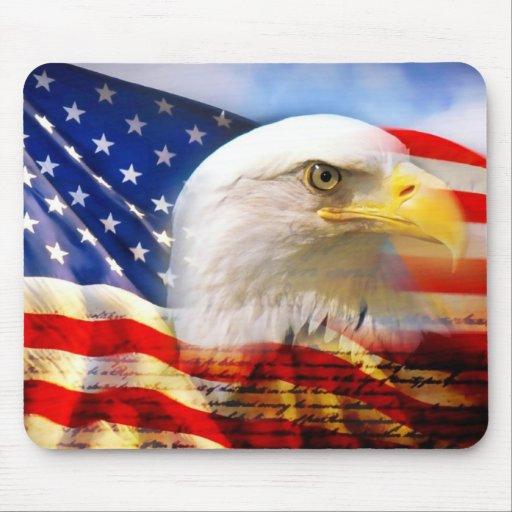 American Flag Bald Eagle Mousepad