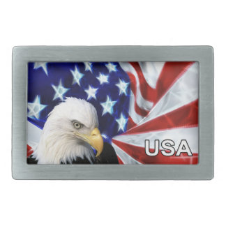 American Flag & Bald Eagle Patriotic Belt Buckles