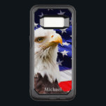 "American Flag Bald Eagle Personalized OtterBox Commuter Samsung Galaxy S8 Case<br><div class=""desc"">A portrait of a fierce American bald eagle is pictured in front of the star spangled banner on this patriotic case. At the bottom is your name or other custom text in light gray. If you prefer,  you may remove the text by clearing the field.</div>"
