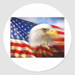 American Flag Bald Eagle Round Stickers