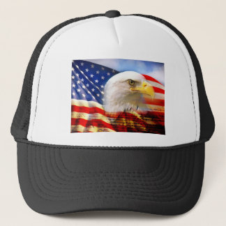 American Flag Bald Eagle Trucker Hat