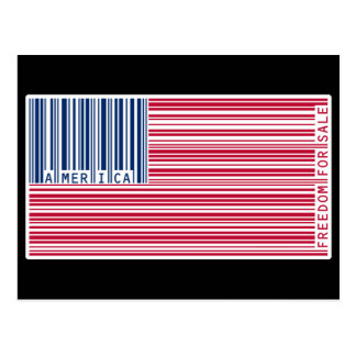 American Flag Barcode - Freedom For Sale Postcard