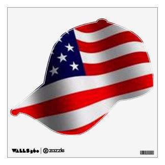 AMERICAN FLAG BASEBALL CAP DESIGN WALL DECAL