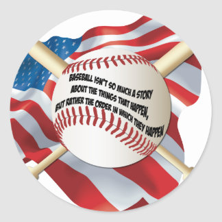 American Flag Baseball Classic Round Sticker