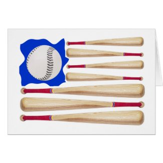 American Flag Baseball Gifts Greeting Card