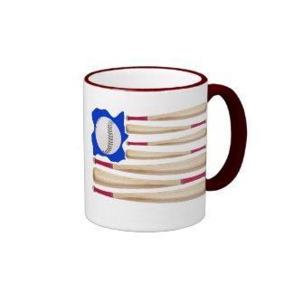 American Flag Baseball Mugs