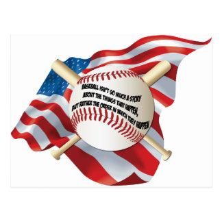 American Flag Baseball Postcard