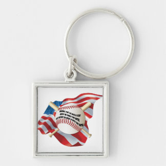 American Flag Baseball Silver-Colored Square Keychain