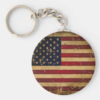 American Flag Basic Round Button Keychain