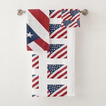 USA Themed American Flag Bath Towel Set