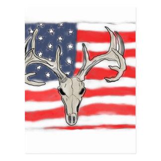 American flag behind a deer skull postcard