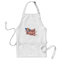 american, flag, blond, bikini, girl, pinup, art, al rio, patriotic, waving, drawing, artwork, Apron with custom graphic design