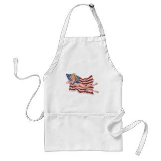 American Flag Bikini Pinup Girl by Al Rio Aprons