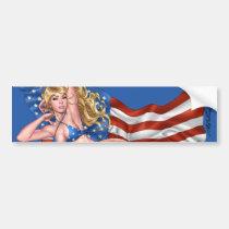 american, flag, blond, bikini, girl, pinup, art, al rio, patriotic, waving, drawing, artwork, Bumper Sticker with custom graphic design