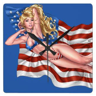 American Flag Bikini Pinup Girl by Al Rio Square Wall Clocks