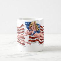 american, flag, blond, bikini, girl, pinup, art, al rio, patriotic, waving, drawing, artwork, Mug with custom graphic design