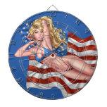 American Flag Bikini Pinup Girl by Al Rio Dart Board