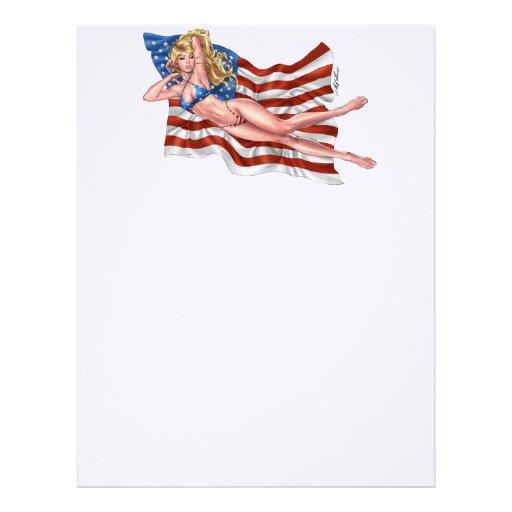 American Flag Bikini Pinup Girl by Al Rio Letterhead Template