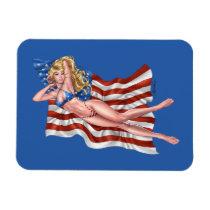 american, flag, blond, bikini, girl, pinup, art, al rio, patriotic, waving, drawing, artwork, [[missing key: type_fuji_fleximagne]] com design gráfico personalizado