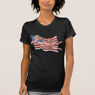 American Flag Bikini Pinup Girl by Al Rio T-Shirt