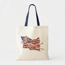 american, flag, blond, bikini, girl, pinup, art, al rio, patriotic, waving, drawing, artwork, Bag with custom graphic design