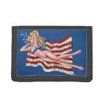 American Flag Bikini Pinup Girl by Al Rio Trifold Wallet