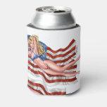 American Flag Bikini Pinup Girl by Al Rio Can Cooler