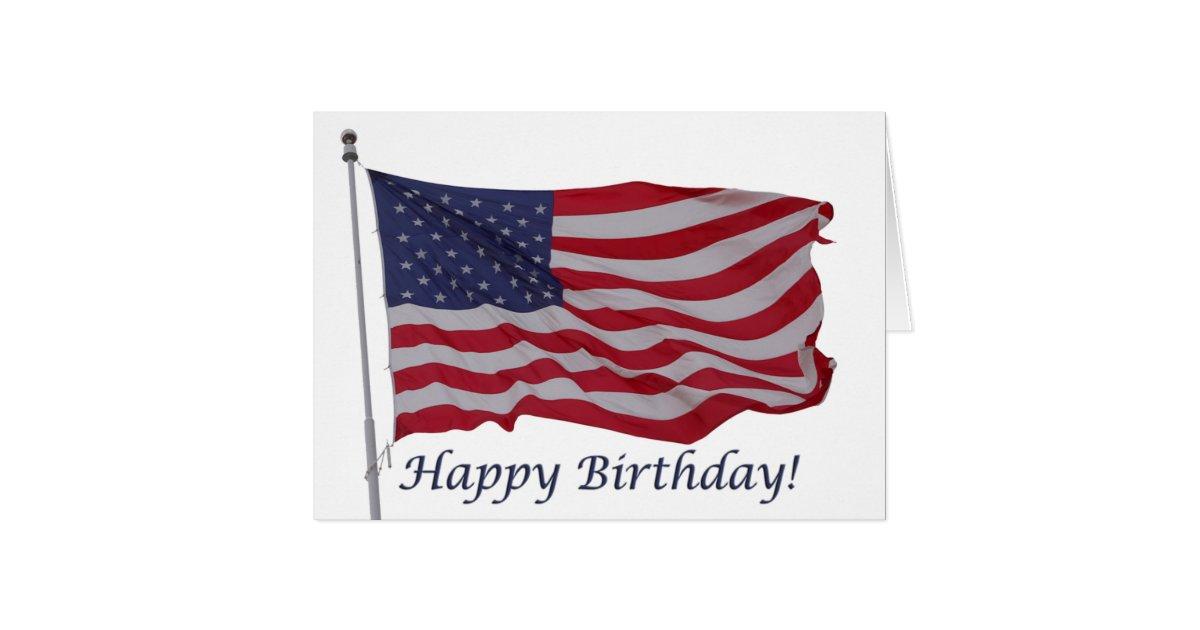 American Flag Birthday Card Zazzle Com