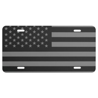 American Flag Black Gray License Plate