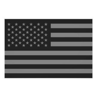 American Flag Black Gray Photograph