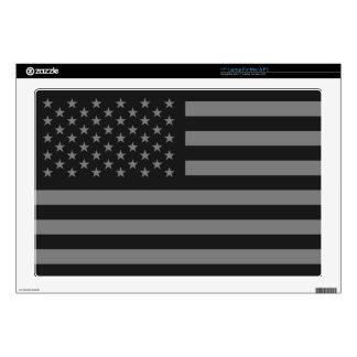 American Flag Black Gray Laptop Decal