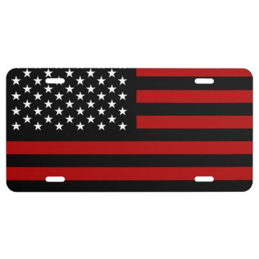 USA Themed American Flag Black Red White 1 License Plate