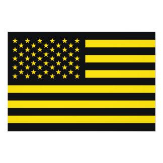 American Flag Black Yellow Photographic Print
