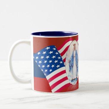 American Flag Blessed Virgin Mary Two-Tone Coffee Mug