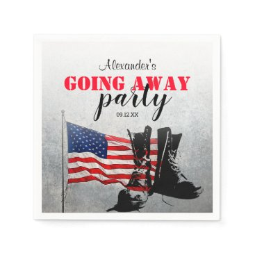 American Flag & Boots Going Away | Military Napkin