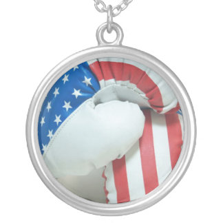 American Flag Boxing Gloves Necklace
